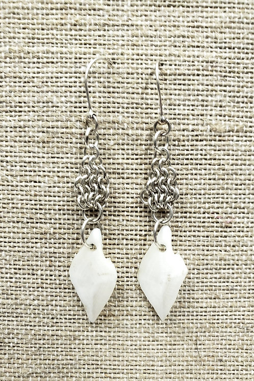 Sterling Chain Mail Earrings with Gar Fish Scales