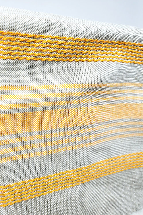 Natural Gray & Gold Stripe Woven Cotton Towel