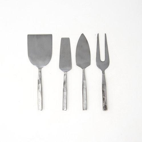 Modern Set of 4 Hammered Steel Cheese Utensils