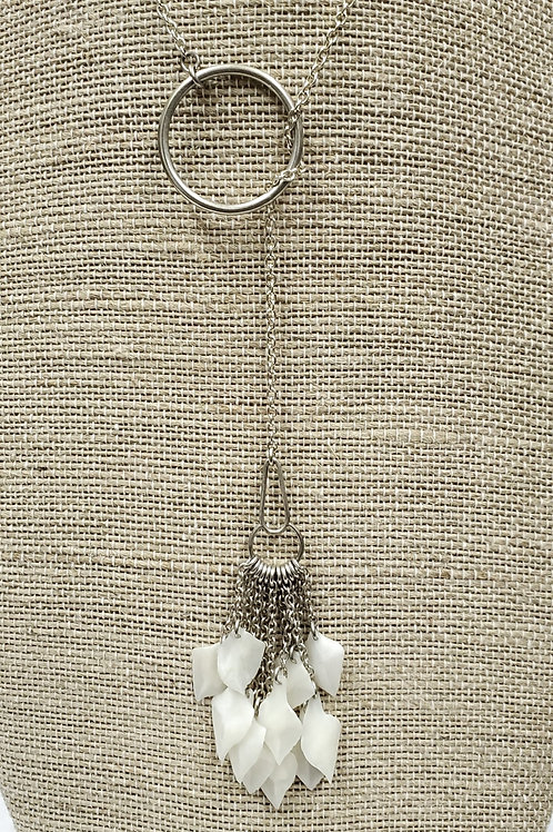 Sterling Lariat with Gar Fish Scale Fringe