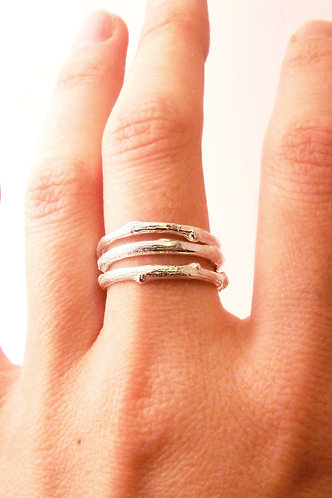 Fine Silver Twig Stacking Rings