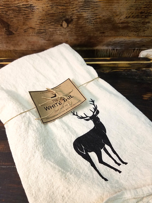 White Tail Flour Sack Towel