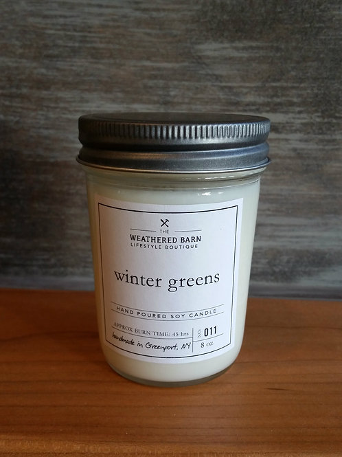 Winter Greens Hand Poured Soy Candle