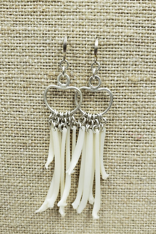 Sterling Earrings with Cat Fish Bone Fringe