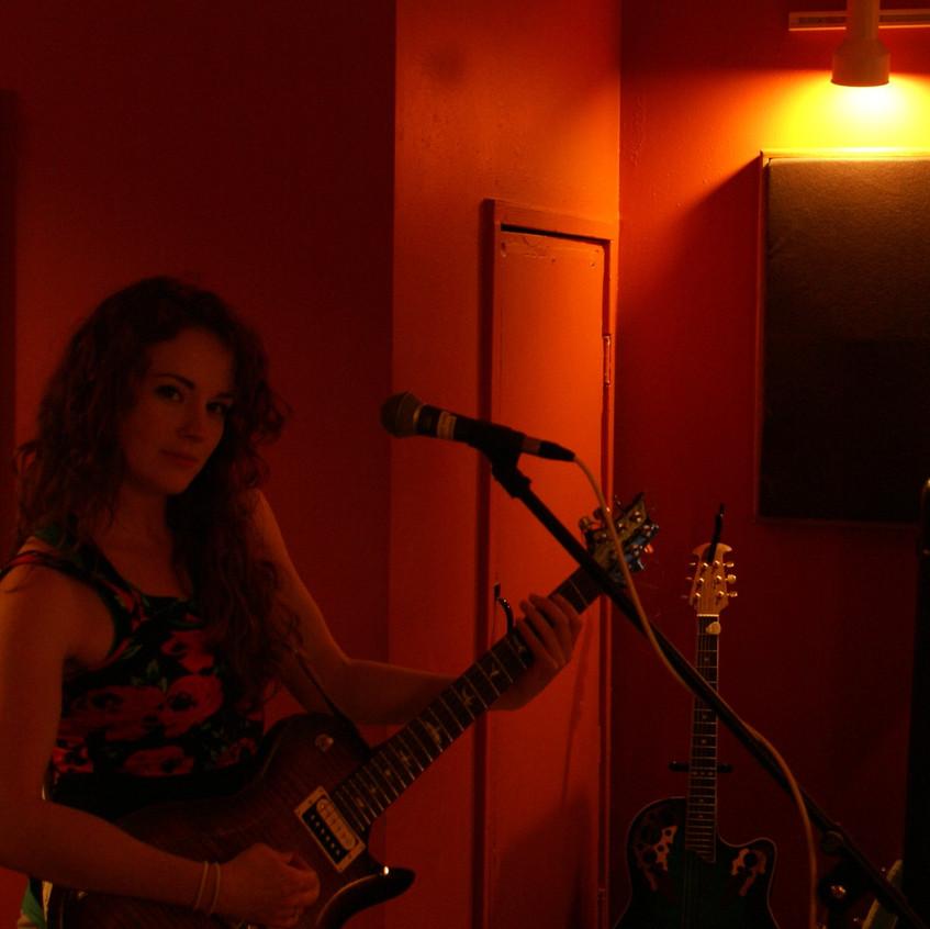 Laying some scratch guitars at Megaton Studios