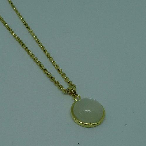 Mondstein Cabochon Anhänger mit Kette, 925/-Silber vergoldet