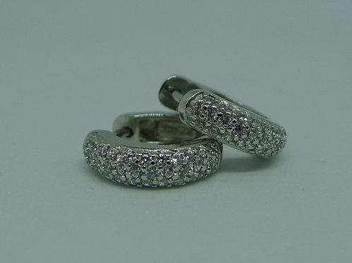 Creolen mit Zirkonia,  925/- Silber rhodiniert