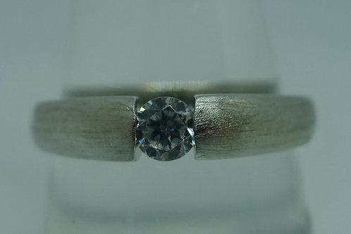 Ring Solitärmit Zirkonia, 925/ Silber rhodiniert