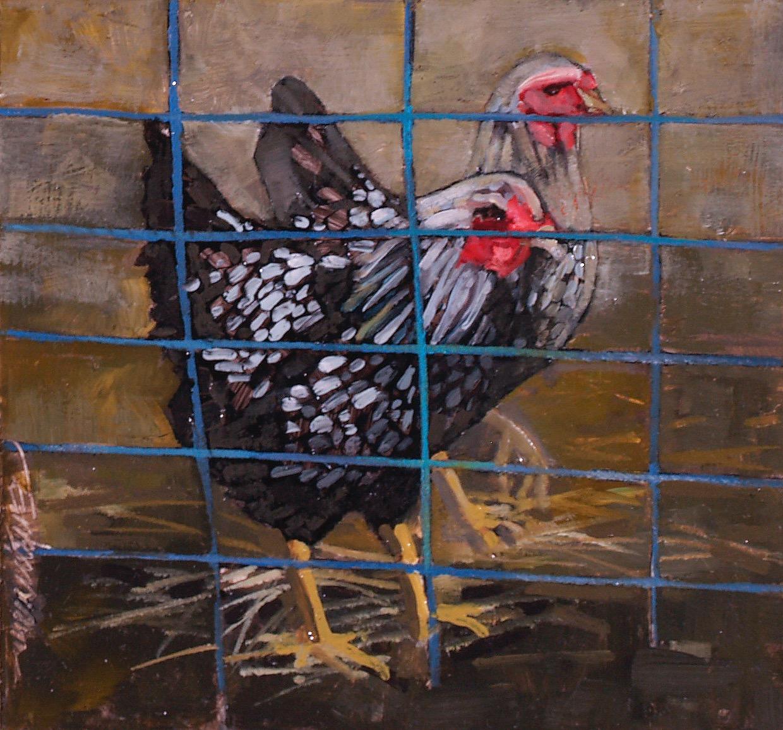 hens behind blue grid oil on panel 5x5