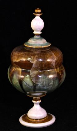Gold Granite and Copper lidded Jar