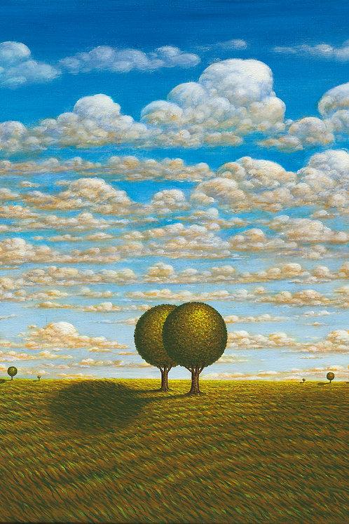Single Tree / Double Tree  Pair of original oil paintings