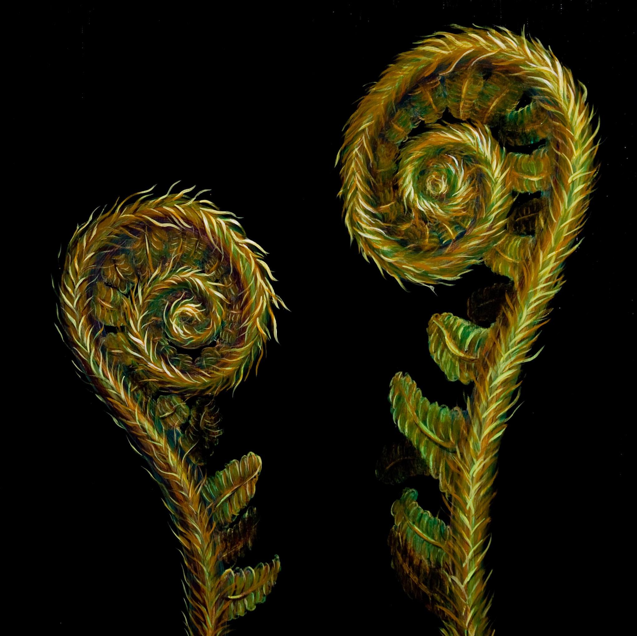 Opposing Ferns oil on wood 24 x 24
