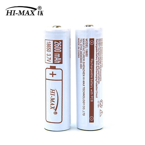 HI-MAX, 18650 battery, 2600mAh, PCB / PCM