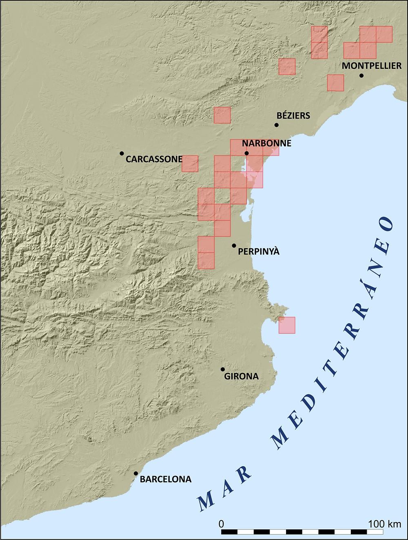 Fig1: Área de distribución de Eordium foetidum (L.) L'Hér. La mayoría de localidades se encuentran en el sur de Francia y la única localidad ibérica se mantiene en el Cap Norfeu, una pequeña península rocosa del sur de Cap de Creus