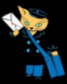 Image of cat dlivering mail.