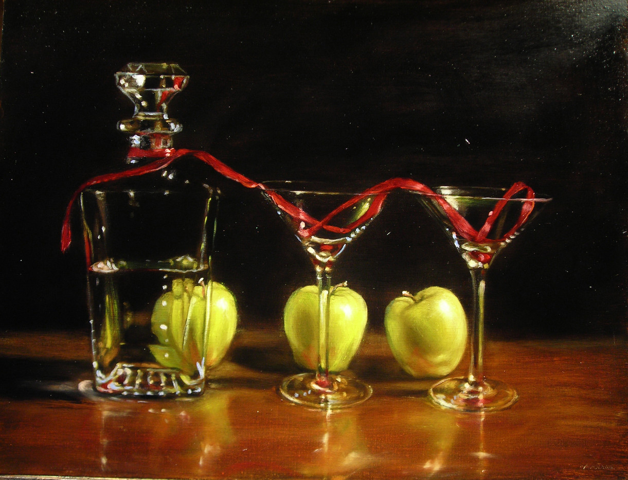 Ribbon and Apples with Decanter
