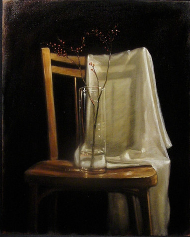 Red Buds and Chair