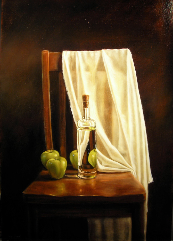 Bottle with Apples on Chair