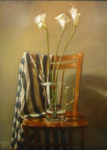 Calla Lilies and Striped Cloth