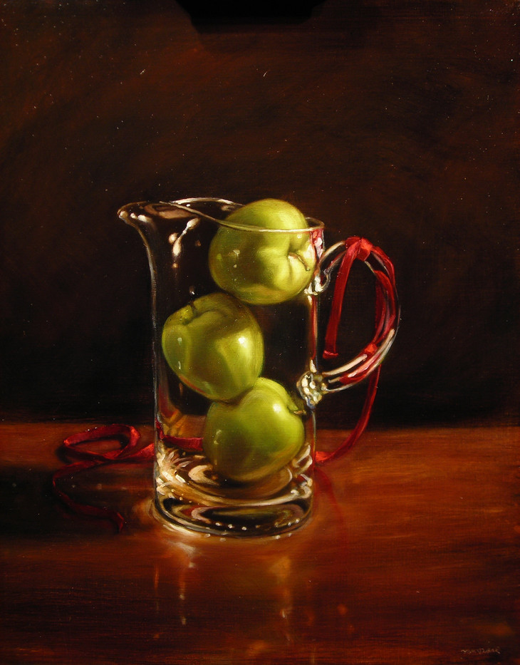Ribbon and Apples in Pitcher