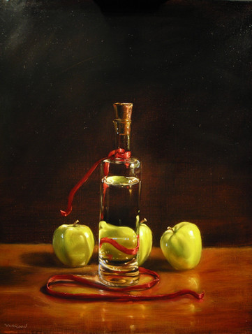 Ribbon and Apples with Bottle