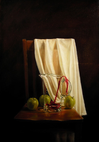Ribbon and Apples on Chair