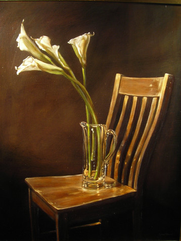 Chair and Calla Lilies