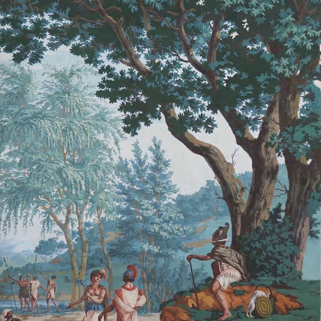 """Décor """"Les Sauvages de la mer Pacifique"""", manufacture Joseph Dufour, Paris, 1804"""
