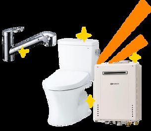 水栓、トイレ、ガス給湯器など、住宅設備無料