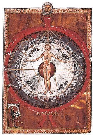 LA GEOMETRIA SAGRADA Y LO HUMANO. Viñeta original de Hildegarda de Bingen