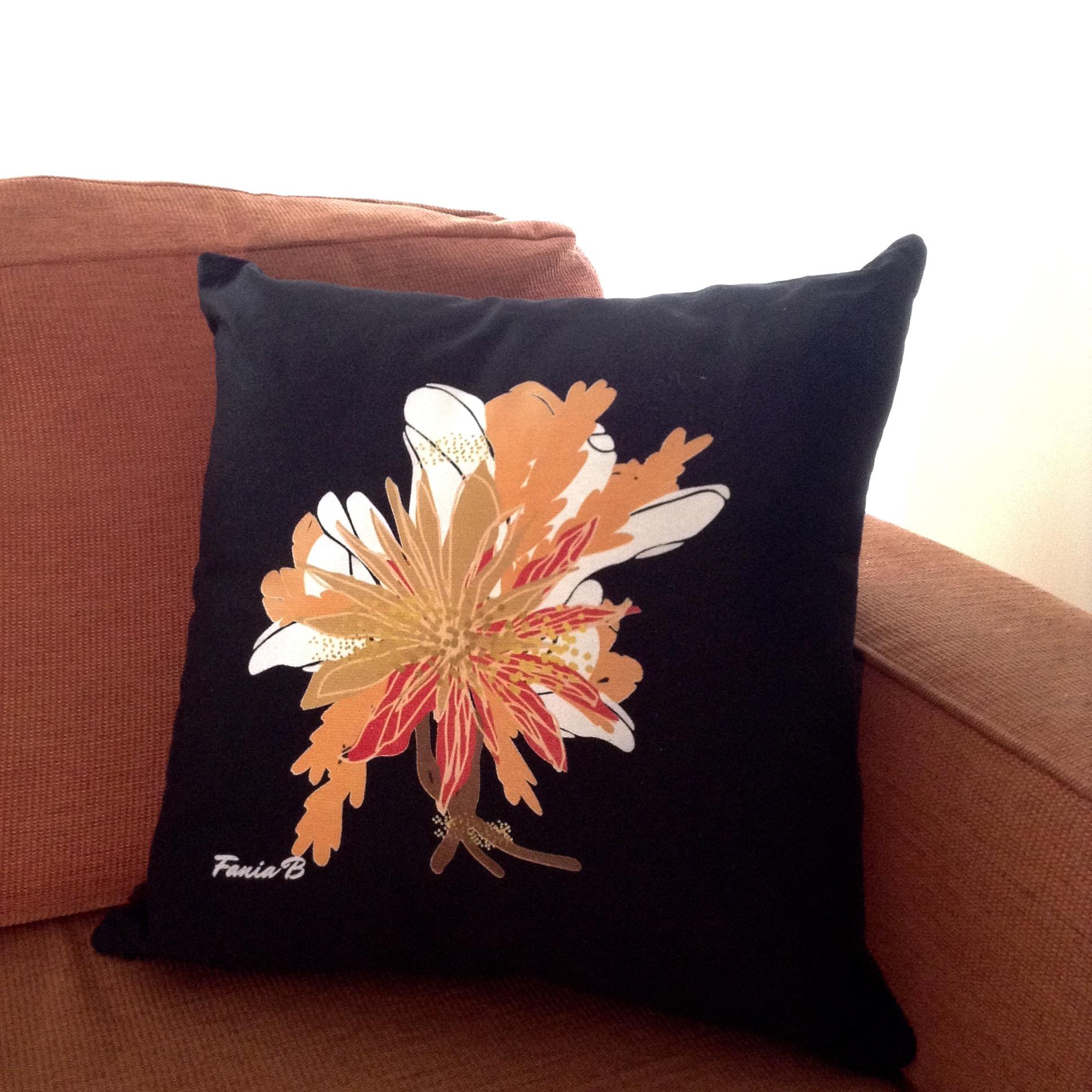 Tropical Art Nouveau Cushion