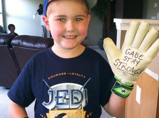 """Gabe & his """"Stay Strong"""" Gloves"""
