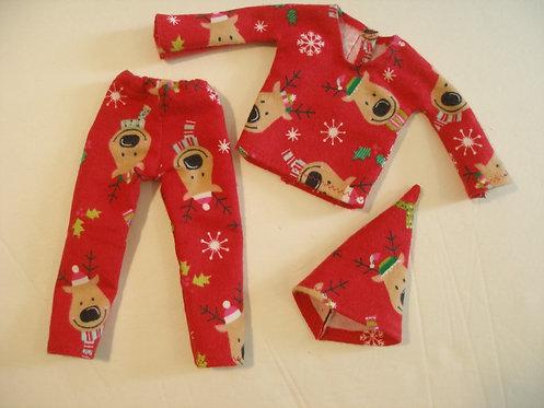 Elf Red Reindeer PJ's