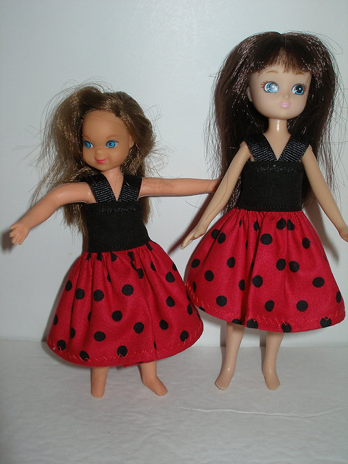 Lottie/Tuttie - Red and Black Polk Dot Dress