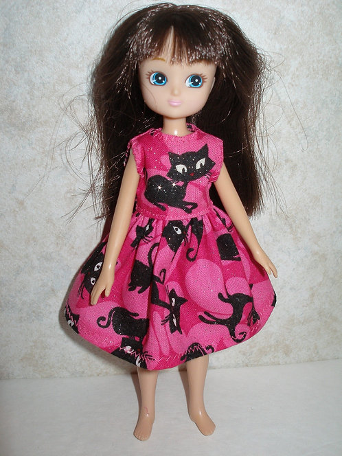 Lottie - Pink and Black Cat Dress