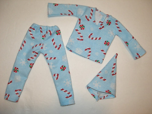 Elf Holiday Snowflakes and Candy Canes PJ Set