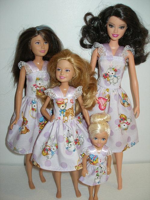 Purple Spring Print Dresses Sister Set
