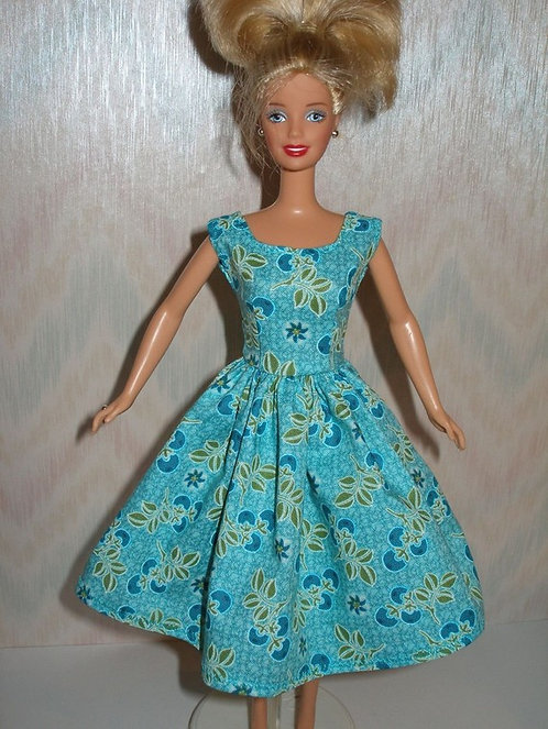 Aqua Print Barbie Dress