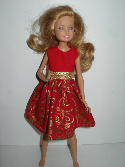 Stacie/Bratz Red and Gold Holiday Dress