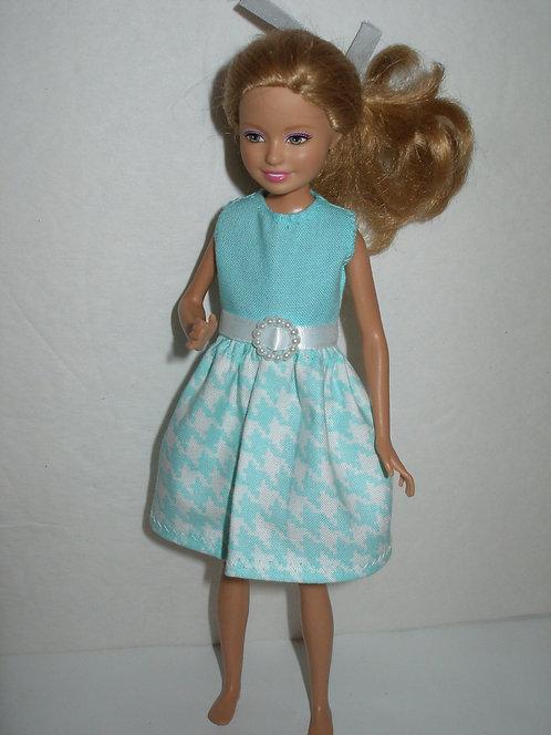 Stacie/Bratz Aqua Houndstooth Dress