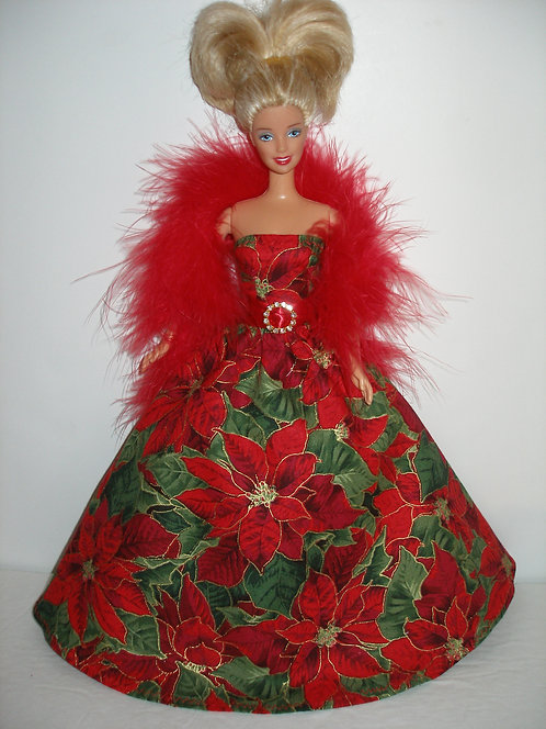 Red Poinsettia Gown w/boa