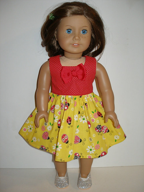 AG Yellow and Red Lady Bug Dress w/silver shoes