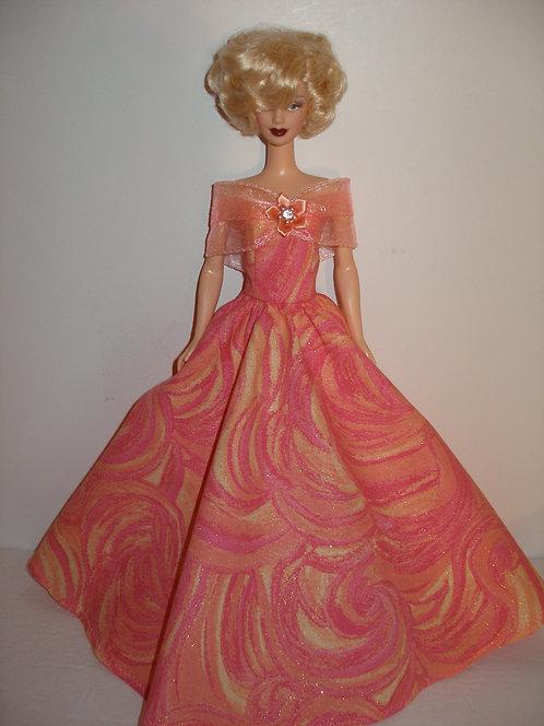 Glittery Swirls Gown w/Ribbon Shoulder Wrap