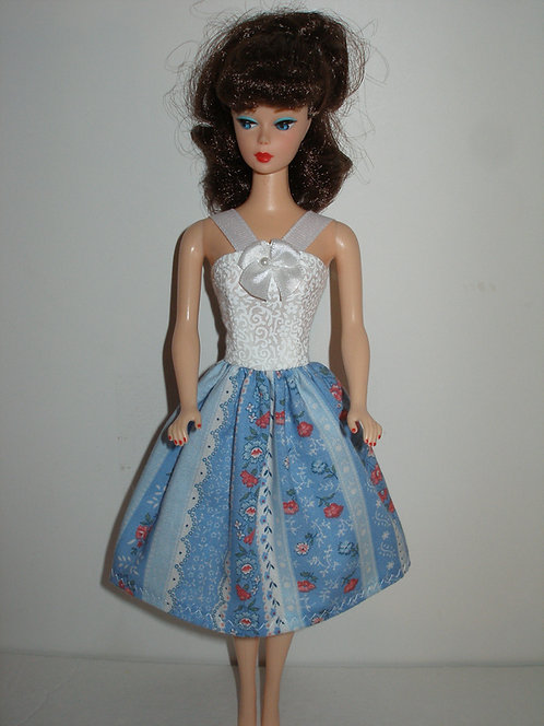White and Blue Floral Stripe Dress