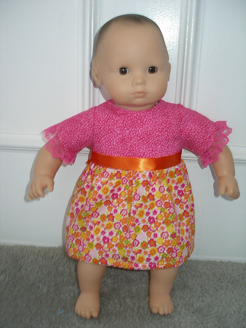 Bitty Baby Pink and Orange Floral Dress