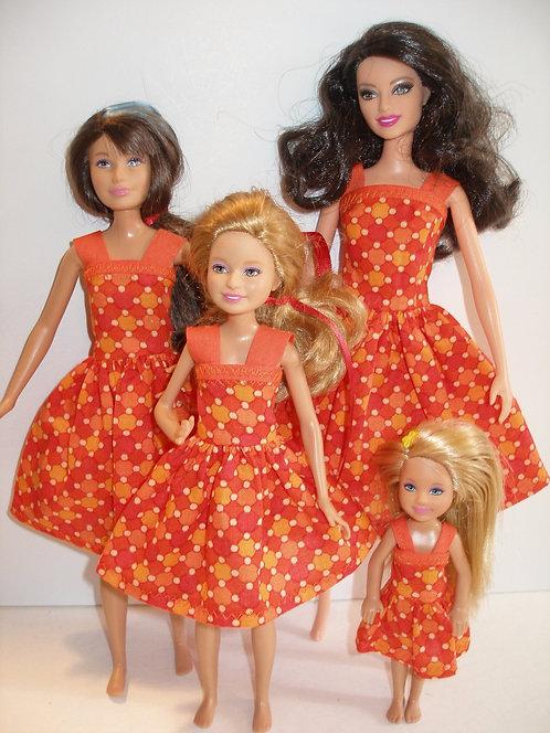 Orange Print Dresses Sister Set