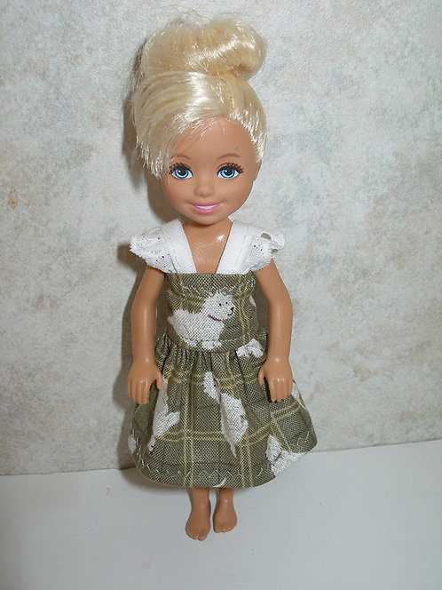 Chelsea - Olive Plaid and White Puppy Dress