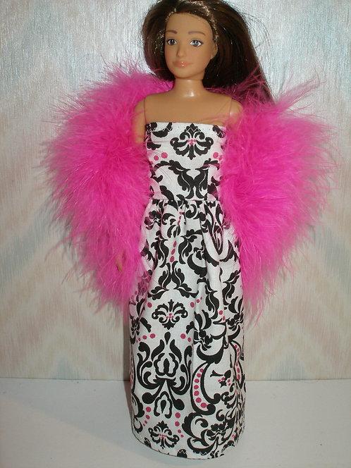 Lammily - White/Pink/Black Gown w/Boa
