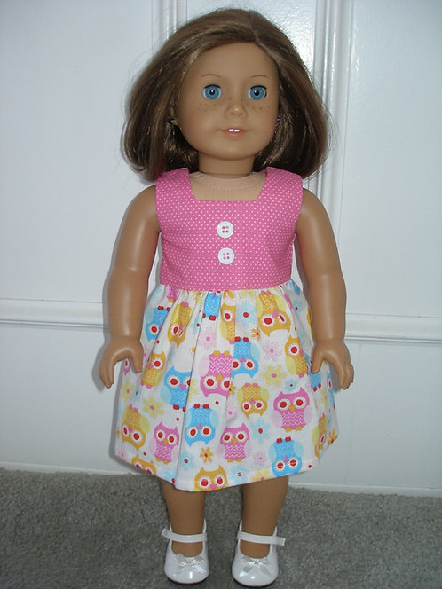 AG Pink,Blue Owl Dress w/white shoes