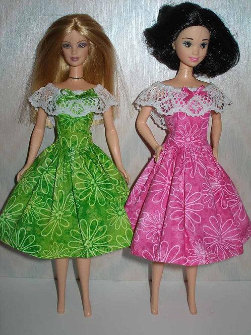 Floral Dress with Lace Trim